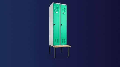 3D Bild zeigt eine Produktvisualisierung von einem Stahlschrank mit Mint-Grünen Doppeltüren