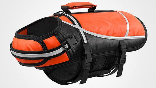 3D Produktvisualisierung zeigt eine Hundeschwimmweste in orange/schwarz mit allen Details