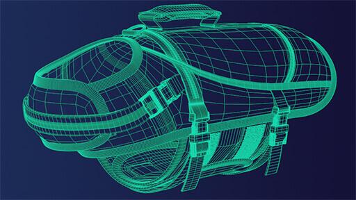 Bild zeigt 3D Modell in einer Polygonen Netzansicht